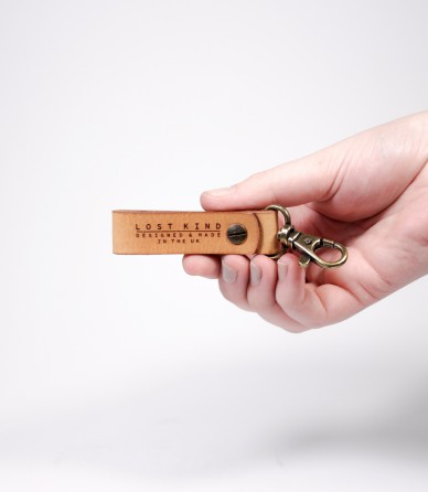 Tan Leather Mini Key Chain (Brass)