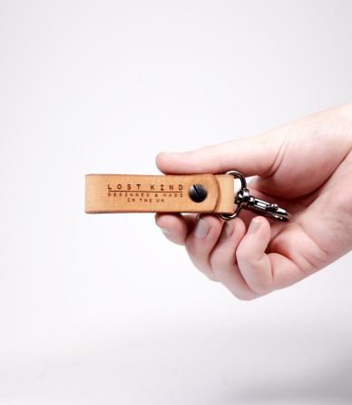 Tan Leather Mini Key Chain (Silver)