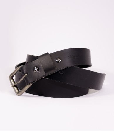 Leather 10oz Belt in Black (Brass) made by Lost Kind®